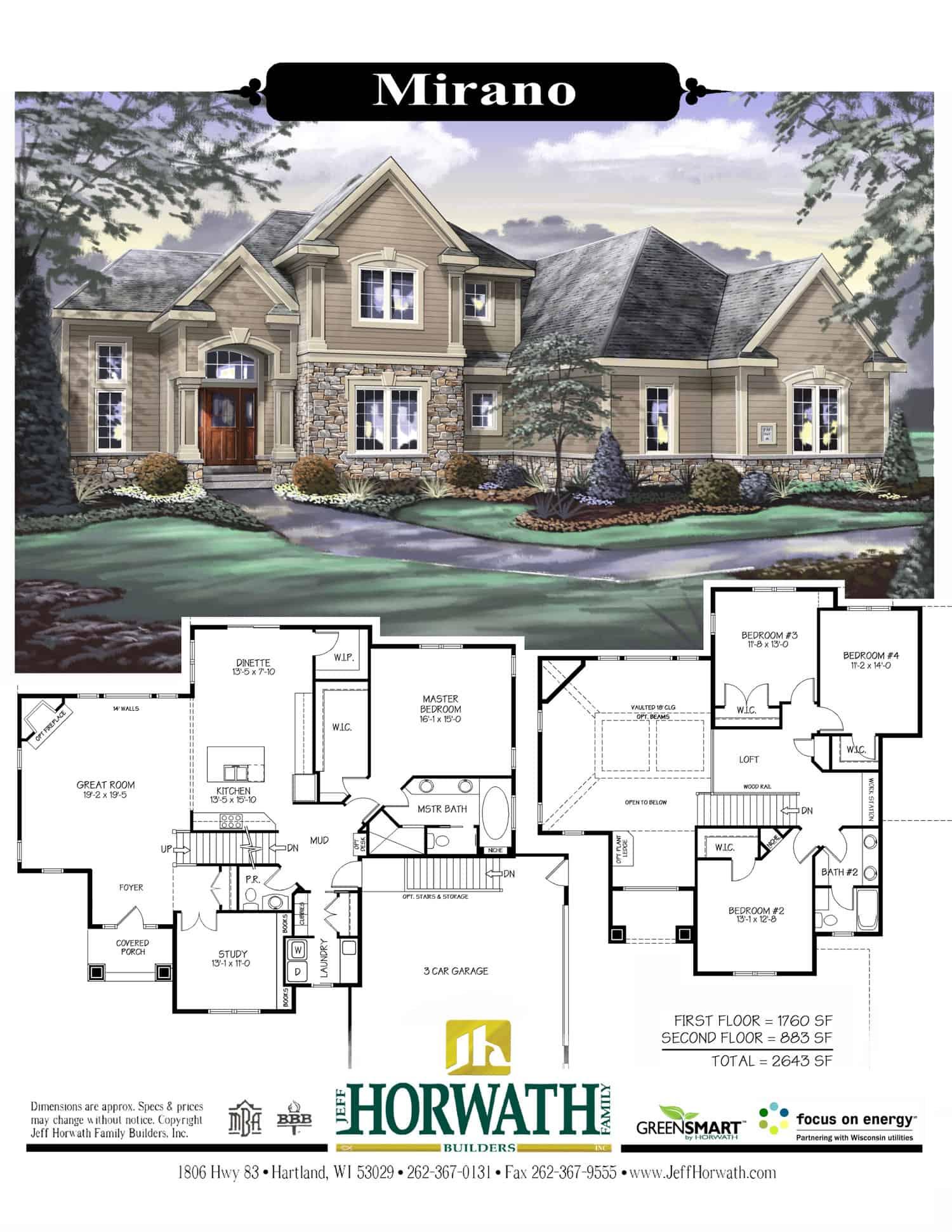 2643 SF MIRANOJeff Horwath Milwaukee Waukesha and Lake Country – Custom Homes By Jeff Floor Plans